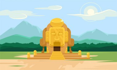 Vector gold tomb flat illustration