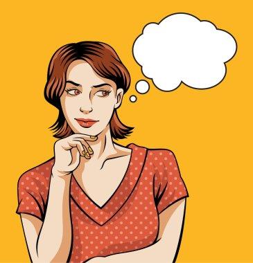 Thinking pin up woman. Vector illustratiion clip art vector