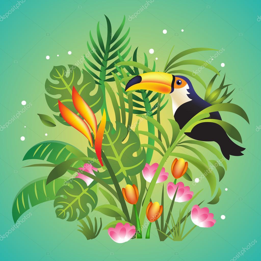Vector jungle cartoon color illustration