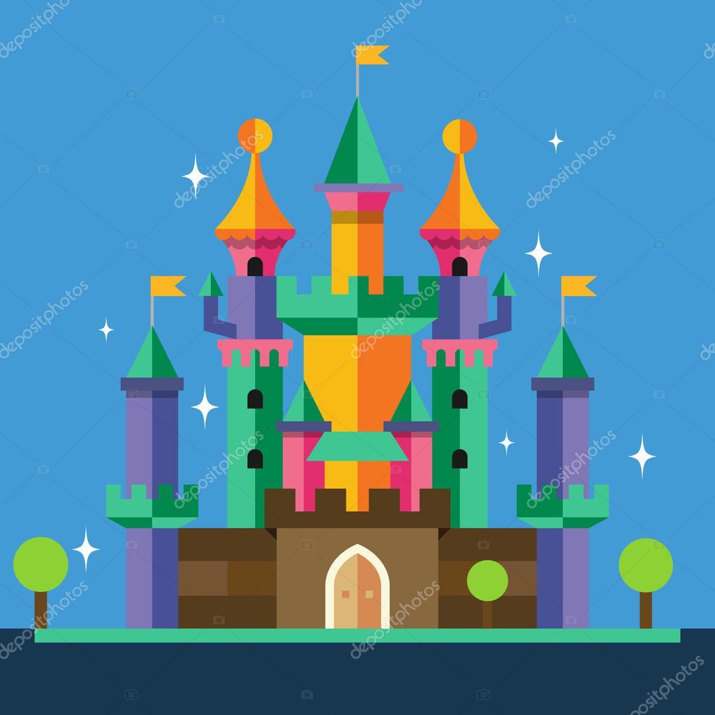 Cartoon castle. Vector flat illustration