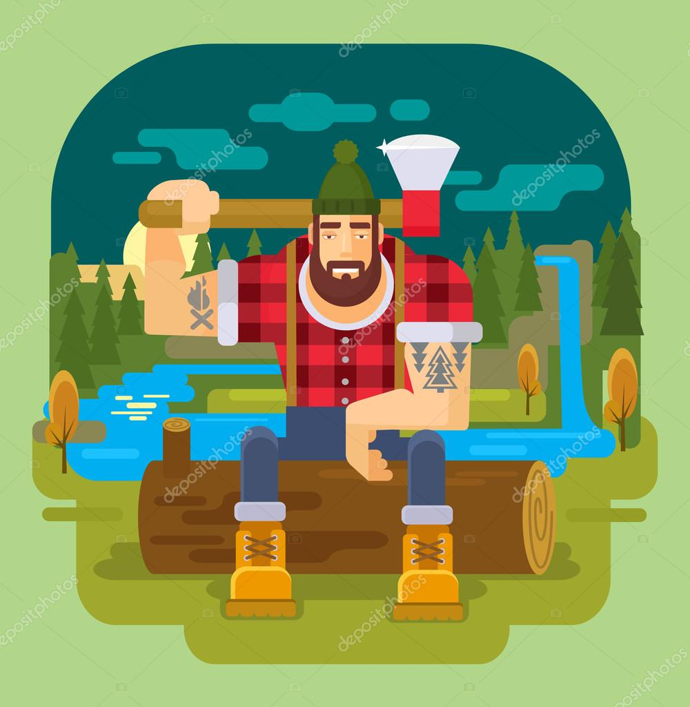 lumberjack. Vector flat illustration