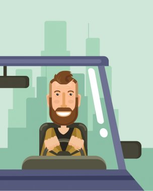 Driver is driving. Vector flat illustration