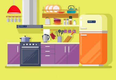 Kitchen with furniture. Vector flat illustration