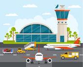 Fotografie Letiště s infographic prvky šablony. Plochá vektorové ilustrace