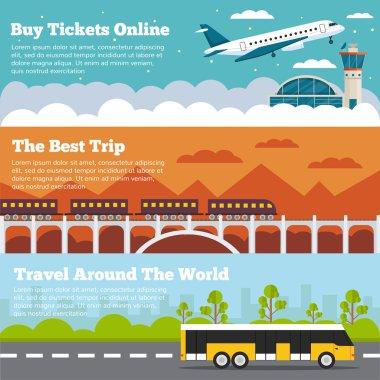 Travels flat banners set illustrations