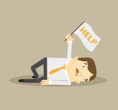 Tired worker. Vector flat illustration