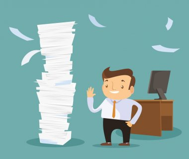 Businessman happy working. Vector flat illustration