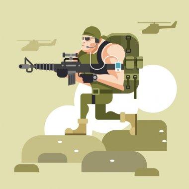 Soldier in camouflage uniform. Vector flat illustration