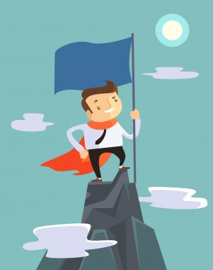 Successful businessman holding flag on top of mountain. Vector flat illustration