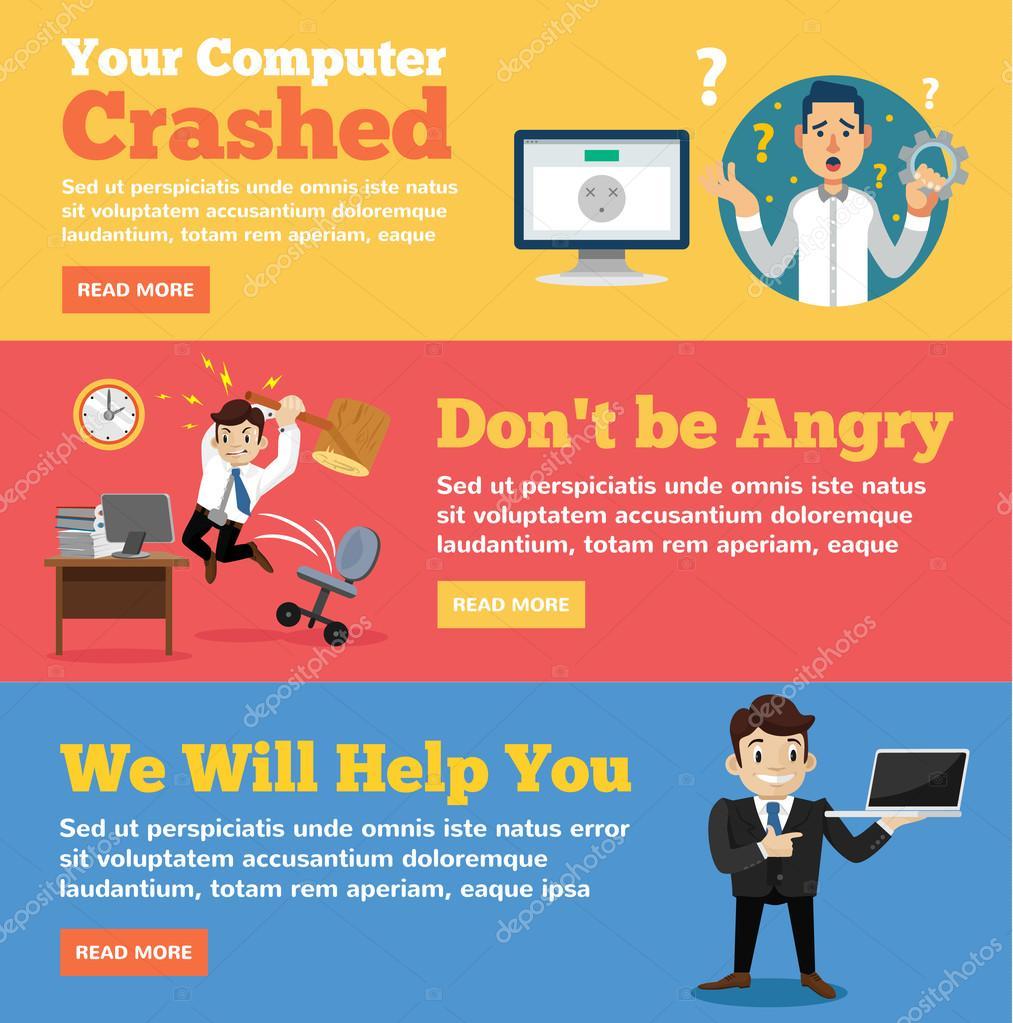 Computer service, computer store flat illustration concepts set