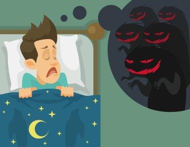 Man and nightmare. Vector flat illustration