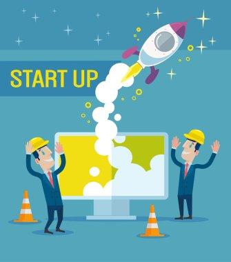 Business start up idea. Vector flat illustration