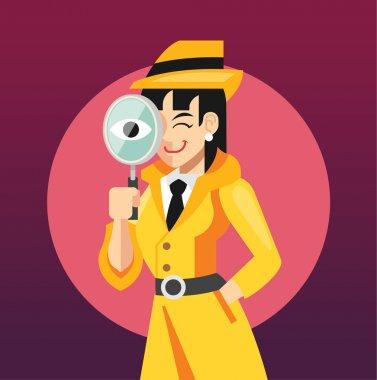 Vector woman detective flat illustration