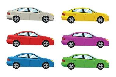 Cars side view. Vector flat illustration set