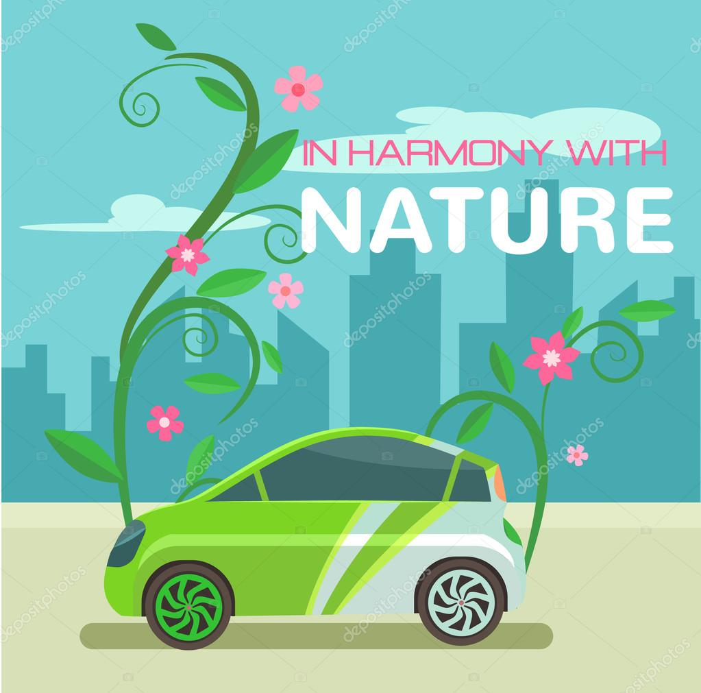 Electric car. Vector eco flat illustration