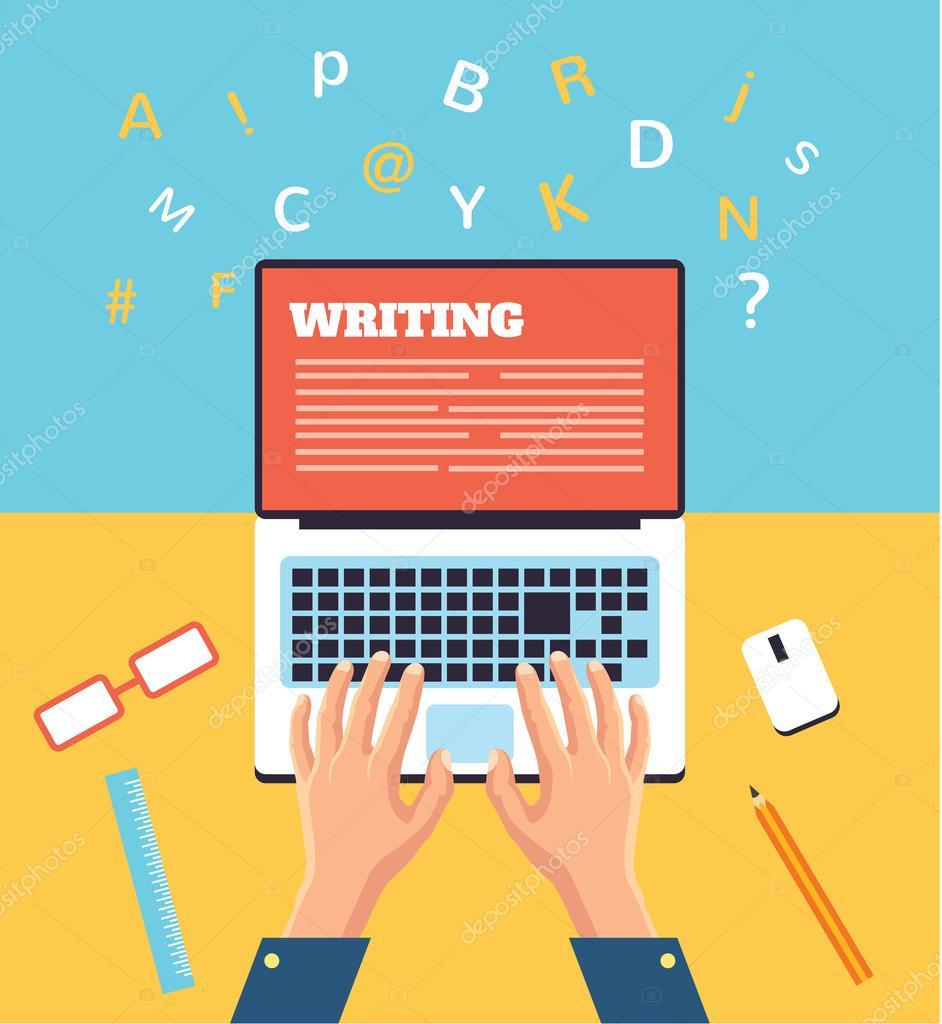 Hand typing on laptop. Vector flat illustration