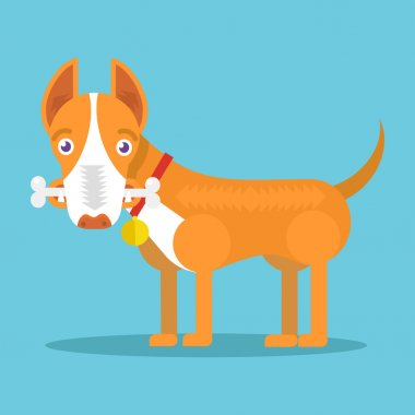 Happy dog with big white bone. Vector flat illustration