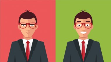 Happy and angry man. Vector flat illustration