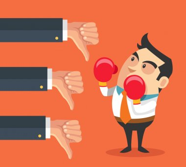 Little businessman and many hands with thumbs down. Vector flat cartoon illustration