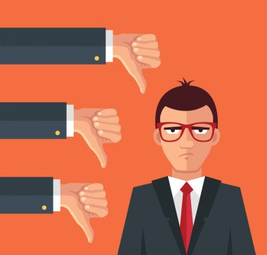 Angry businessman and many hands with thumbs down. Vector flat illustration stock vector