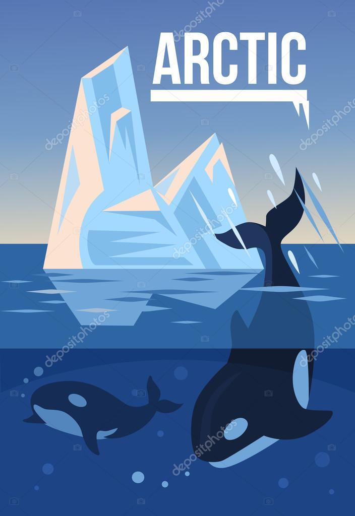Arctic nature. Vector flat illustration