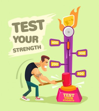 Test your strength. Vector flat illustration