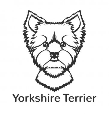 Yorkshire terrier. Vector black icon logo illustration