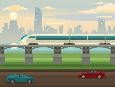 Train on railway and bridge. Vector flat illustration