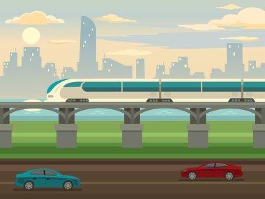 Train on railway and bridge. Vector flat illustration