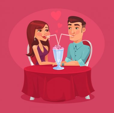 Romantic couple in the cafe. Vector flat illustration clip art vector
