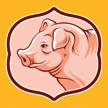 Pig head in frame. Vector cartoon illustration