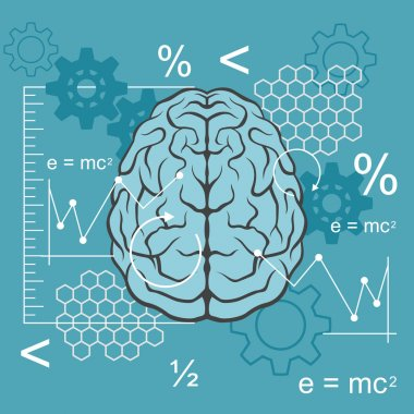 Technical side of brain. Vector flat illustration
