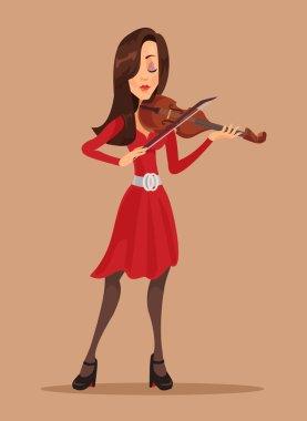 Woman playing violin. Vector flat illustration