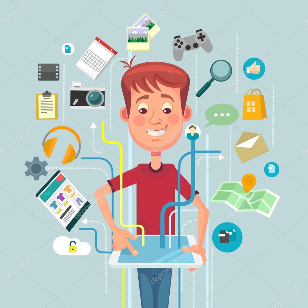 Internet online vector flat illustration
