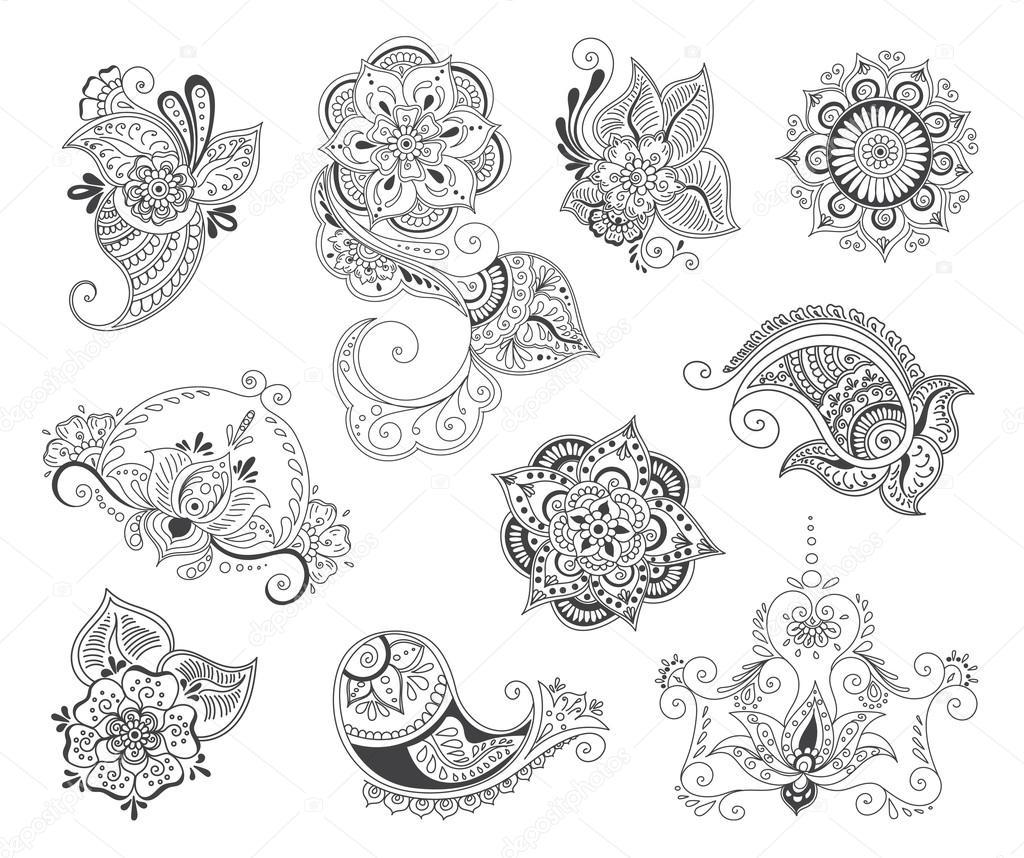 Tatuaż Henną Elementu Zestawu Grafika Wektorowa Lemuur 107883754