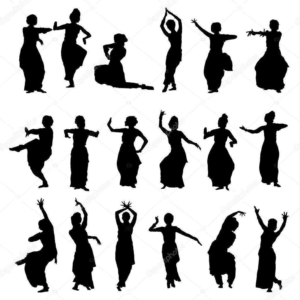 Danzatori indiani silhouettes vettoriali stock lemuur for Scarica clipart