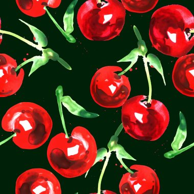 seamless pattern of watercolor cherry