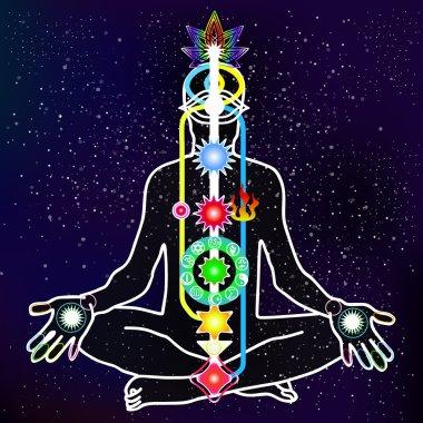 Energy scheme of human body with chakras. Vector illustration stock vector