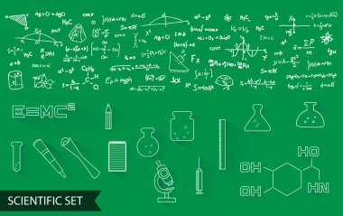 vector scientific icons and formulas pattern