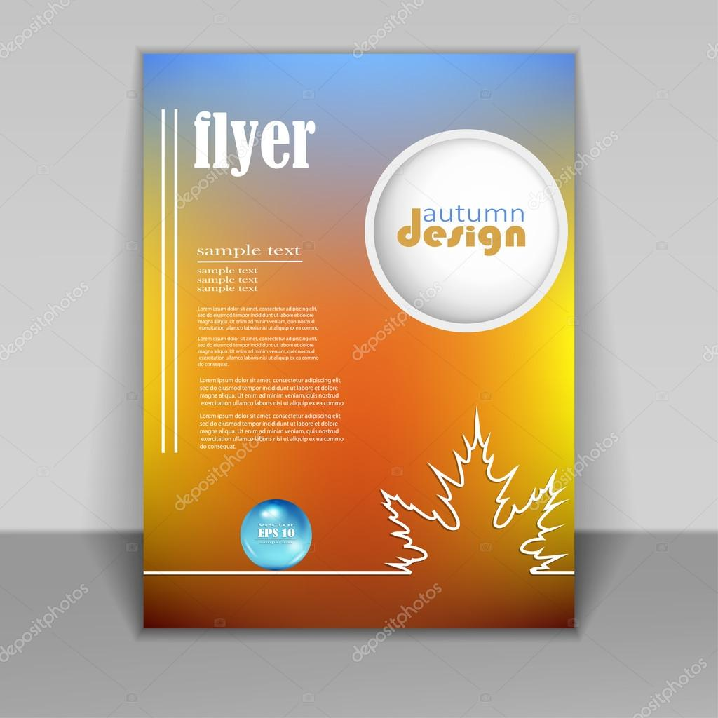 flyer, brochure with autumn background