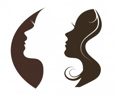 Woman chat vector logo design template. Girl silhouette  cosmetics, beauty, health, spa, fashion themes. Creative icon. clip art vector