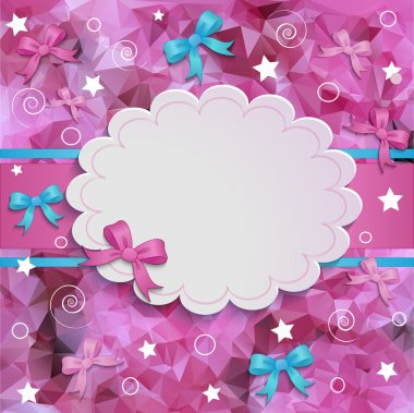 Pink floral border round frame for your sample text isolated on white background. For tender girl and woman. Vector illustration. stock vector