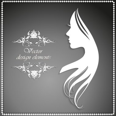 Vector illustration of Woman's silhouette with beautiful hair clip art vector