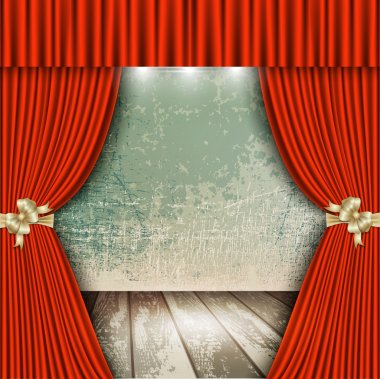 red theater curtain with wooden floors