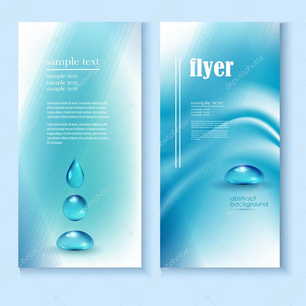 flyer template with a blue background and the drops of pure water