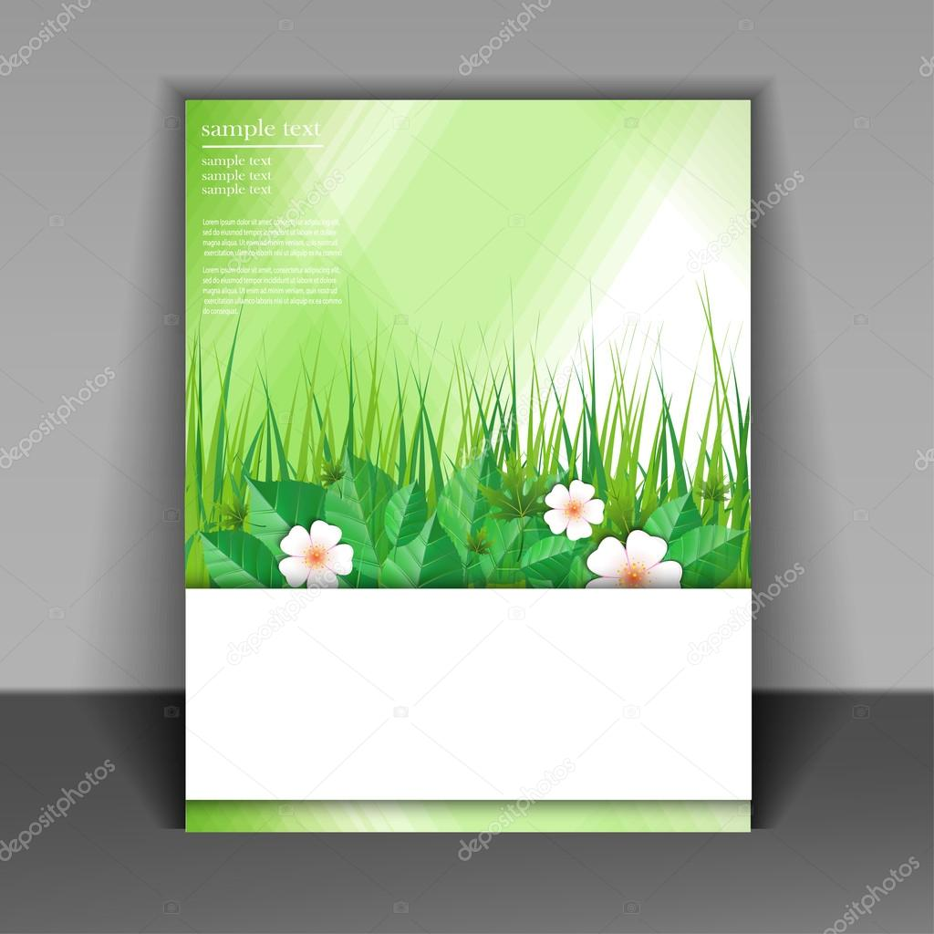 template booklet with grass and green leaves