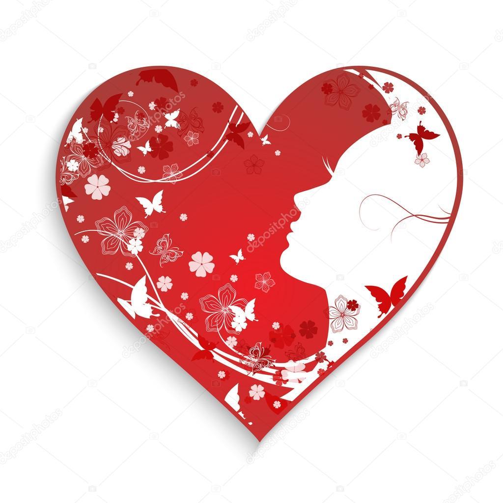 Красивые сексуальные девушки с сердцем с элементами сердечка