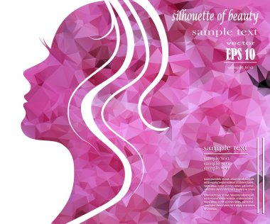 Beautiful girl silhouette with colorful hair, vector background. Abstract design concept for beauty salon, spa, cosmetic shop, flyer, brochure, cover, banner, placard. clip art vector