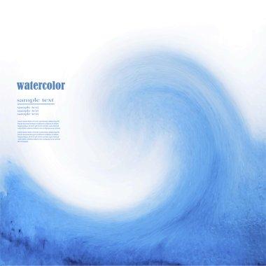 Blue watercolor background sea wave