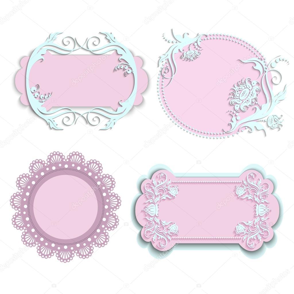 Conjunto de marcos de color rosa para niñas — Archivo Imágenes ...